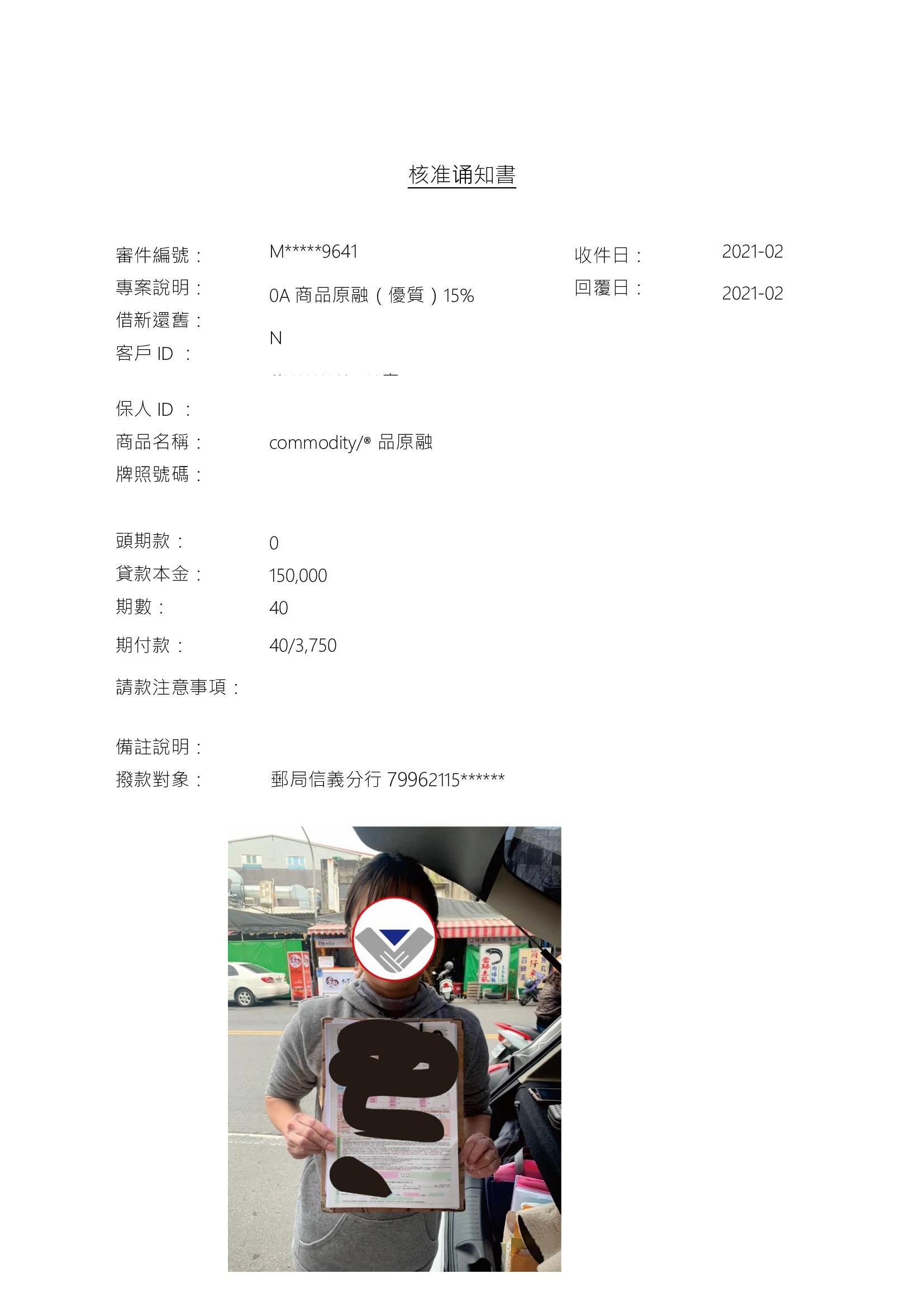 「2021年2月」賀~~機車借新還舊核准15萬元整