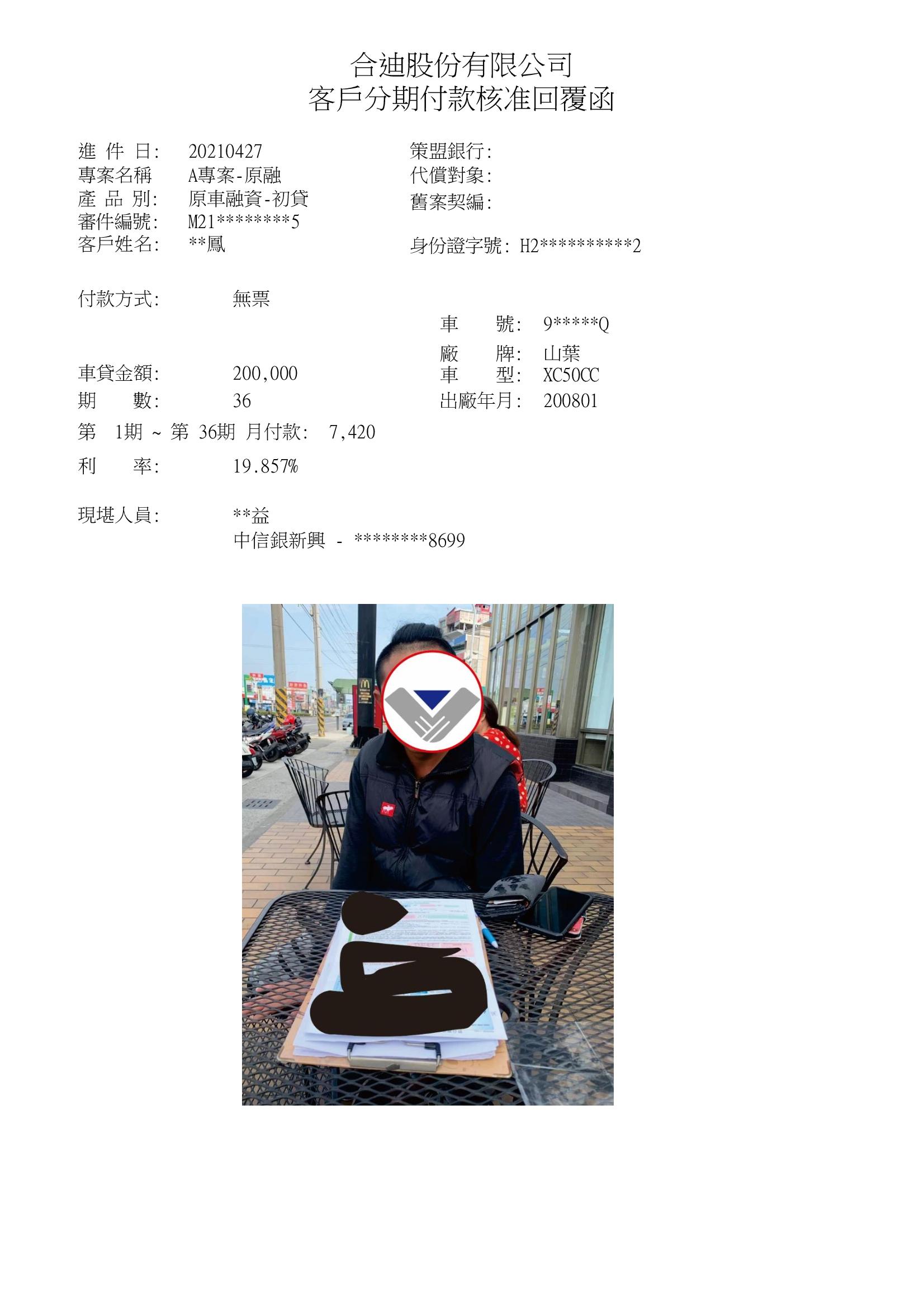 居住於桃園徐小姐,機車原融核准20萬