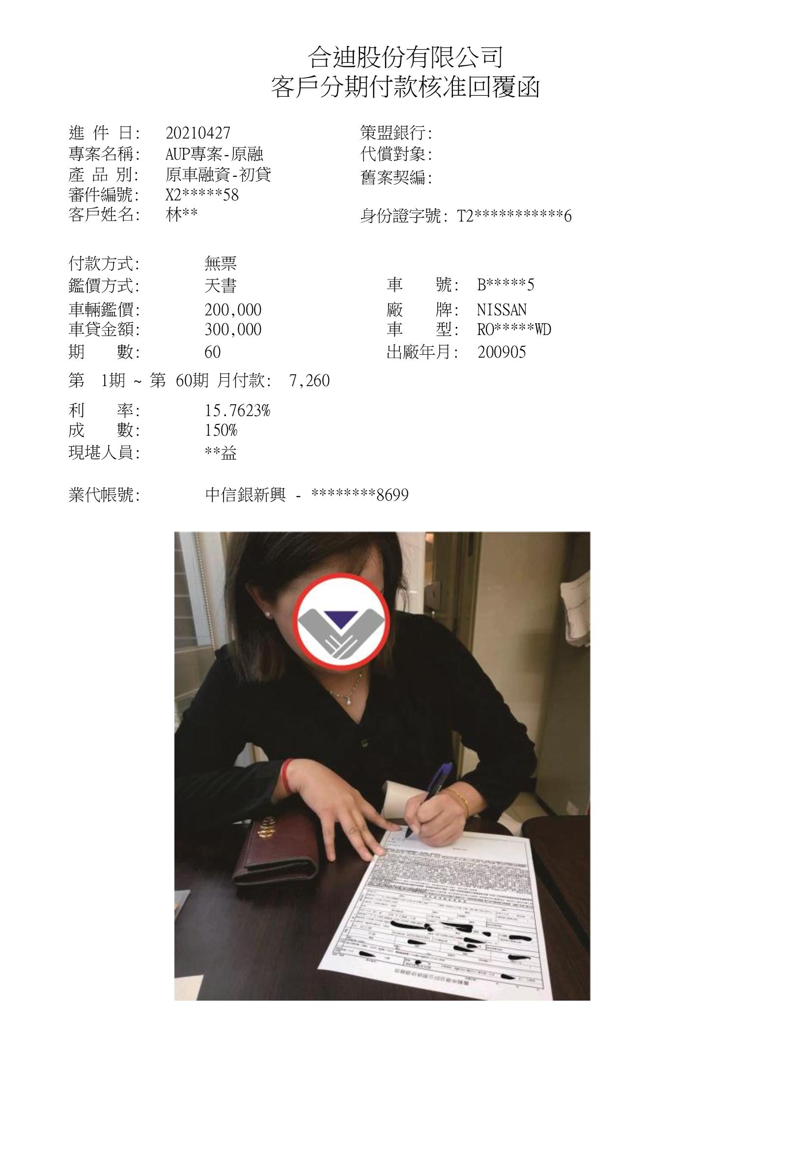 居住於台南林小姐,中租原融直核30萬