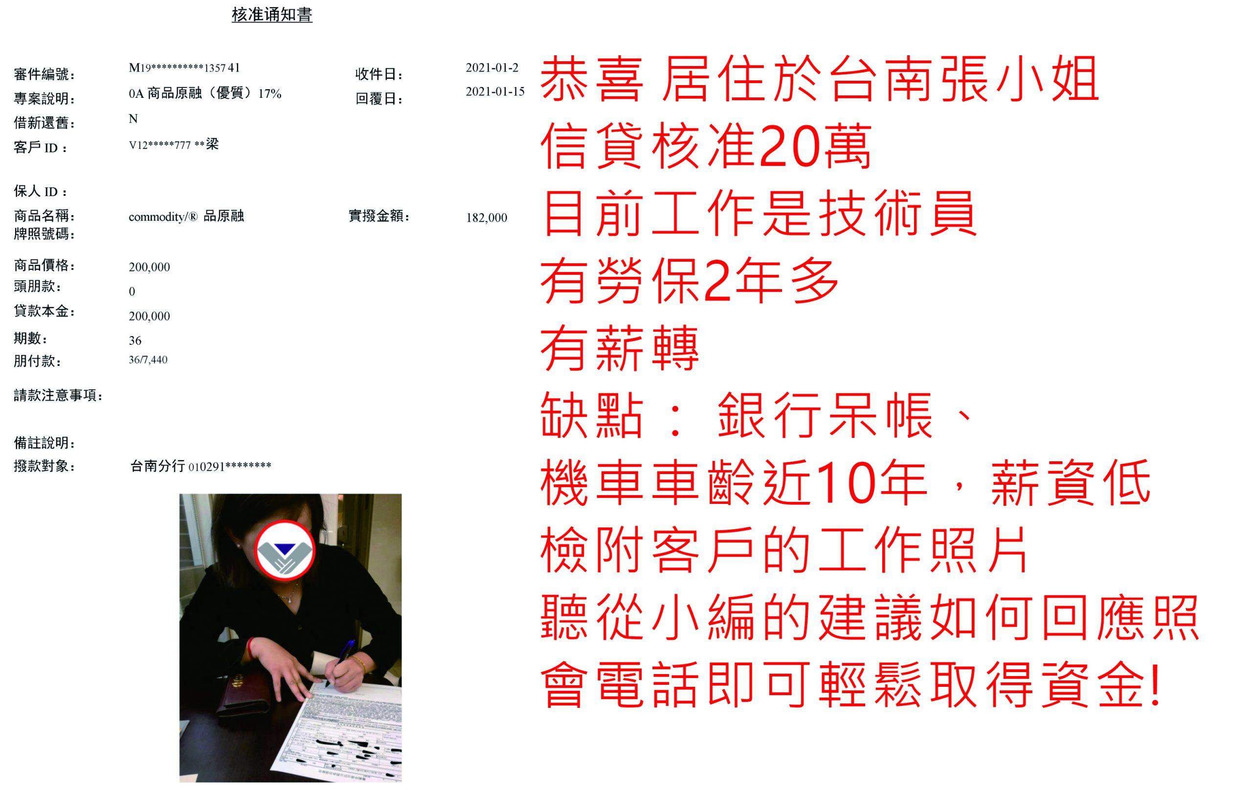 真心相貸機車貸款服務案例-台南張小姐核貸20萬
