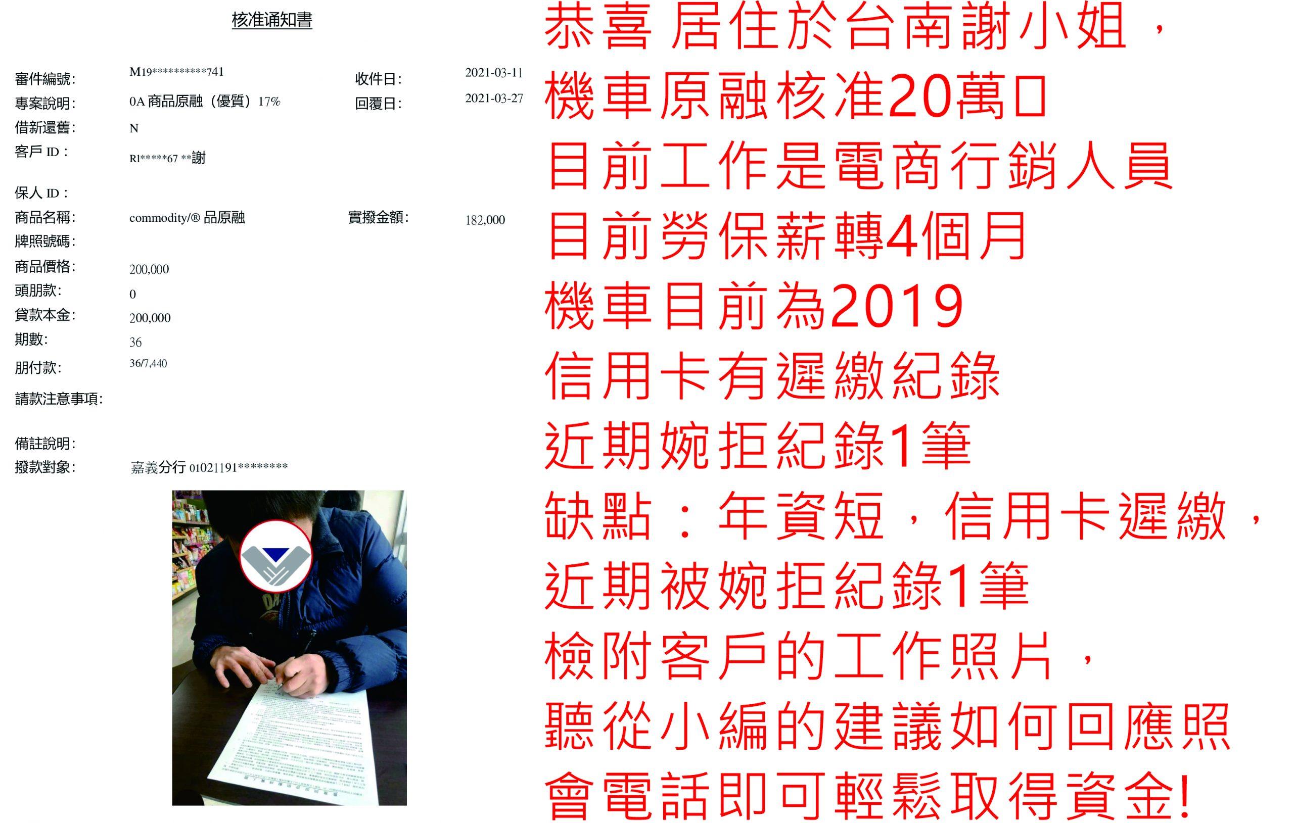 真心相貸機車貸款服務案例-台南謝小姐核貸20萬