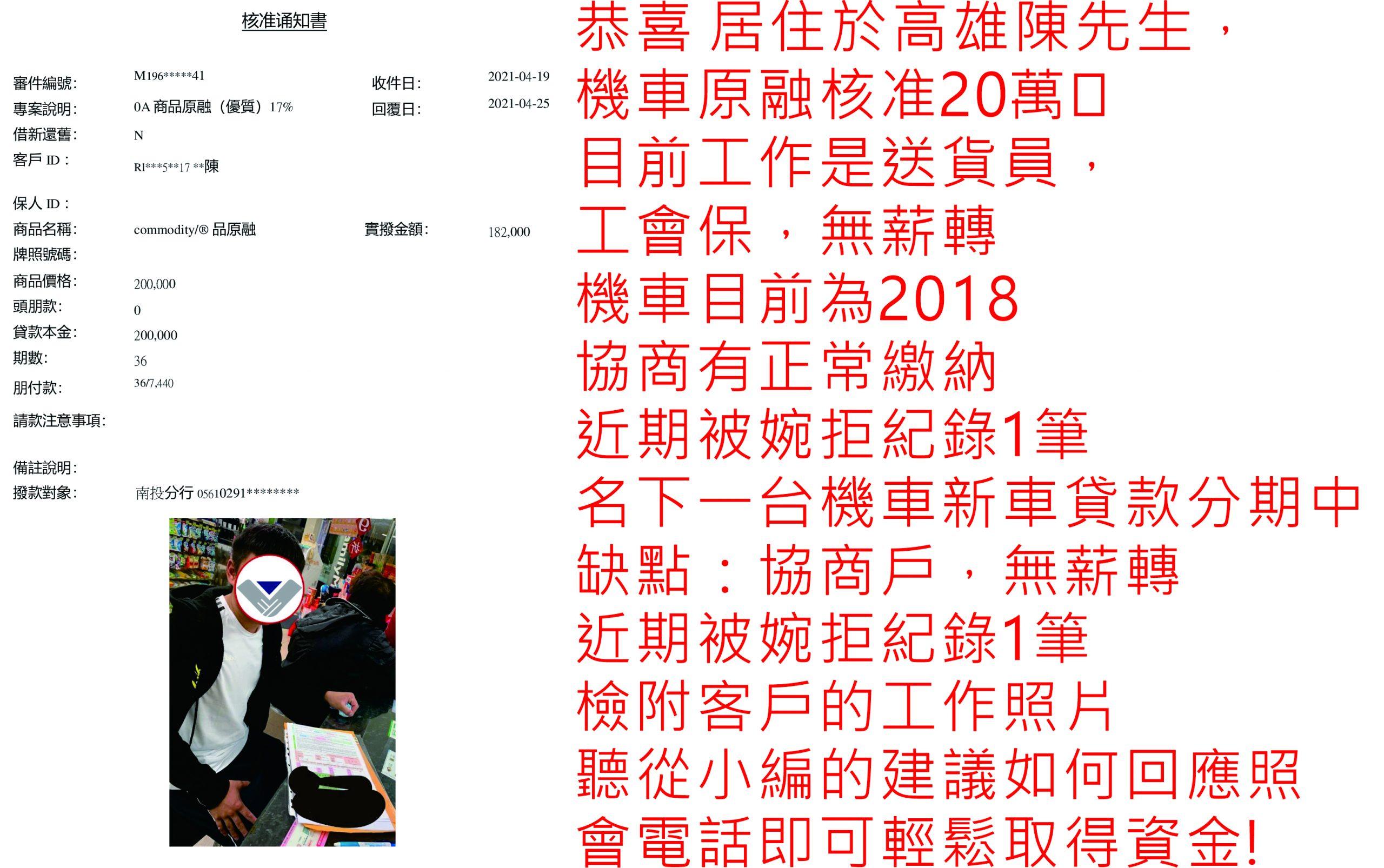 真心相貸機車貸款服務案例-高雄陳先生核貸20萬元