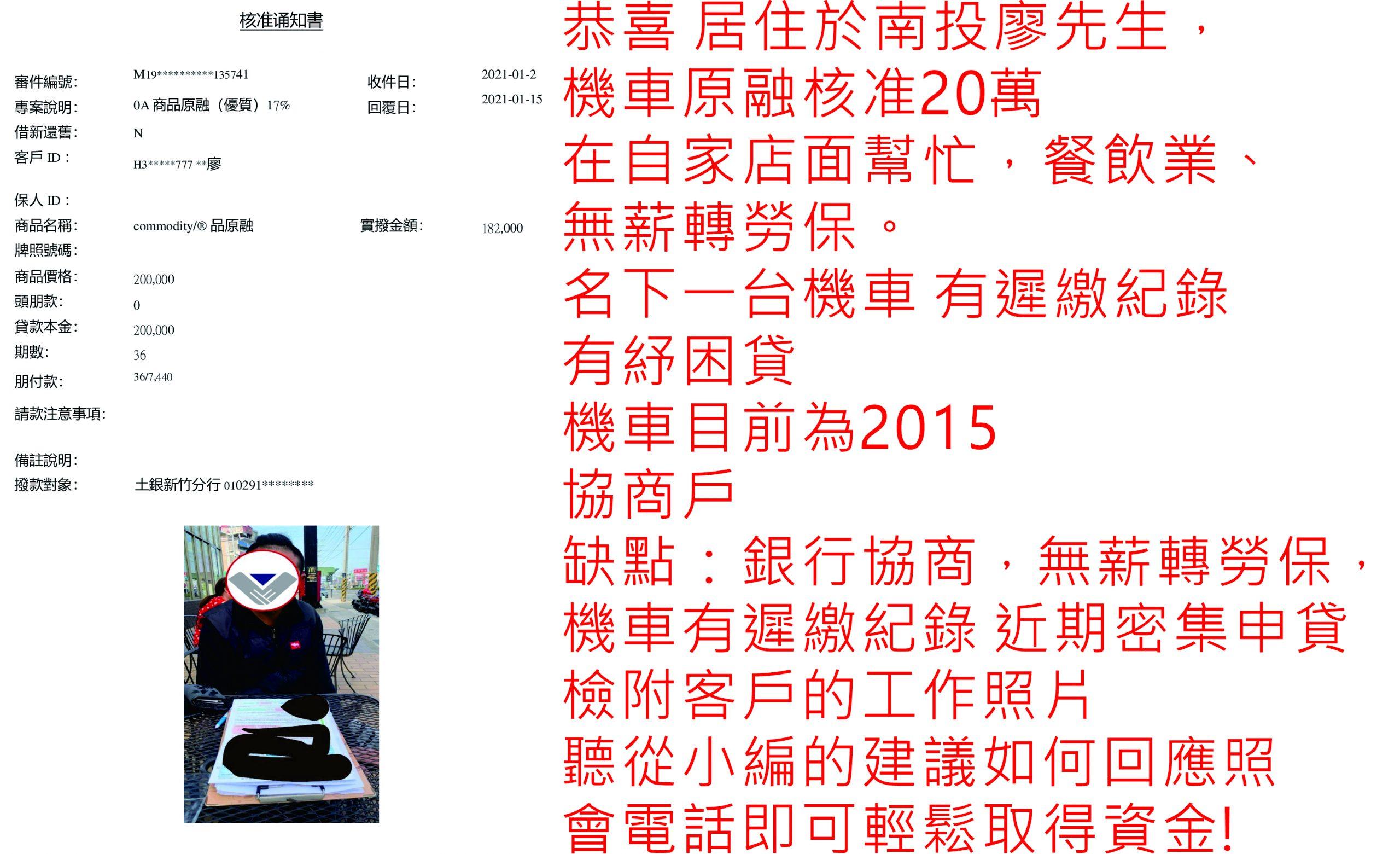 真心相貸機車貸款服務案例-南投廖先生核貸20萬元